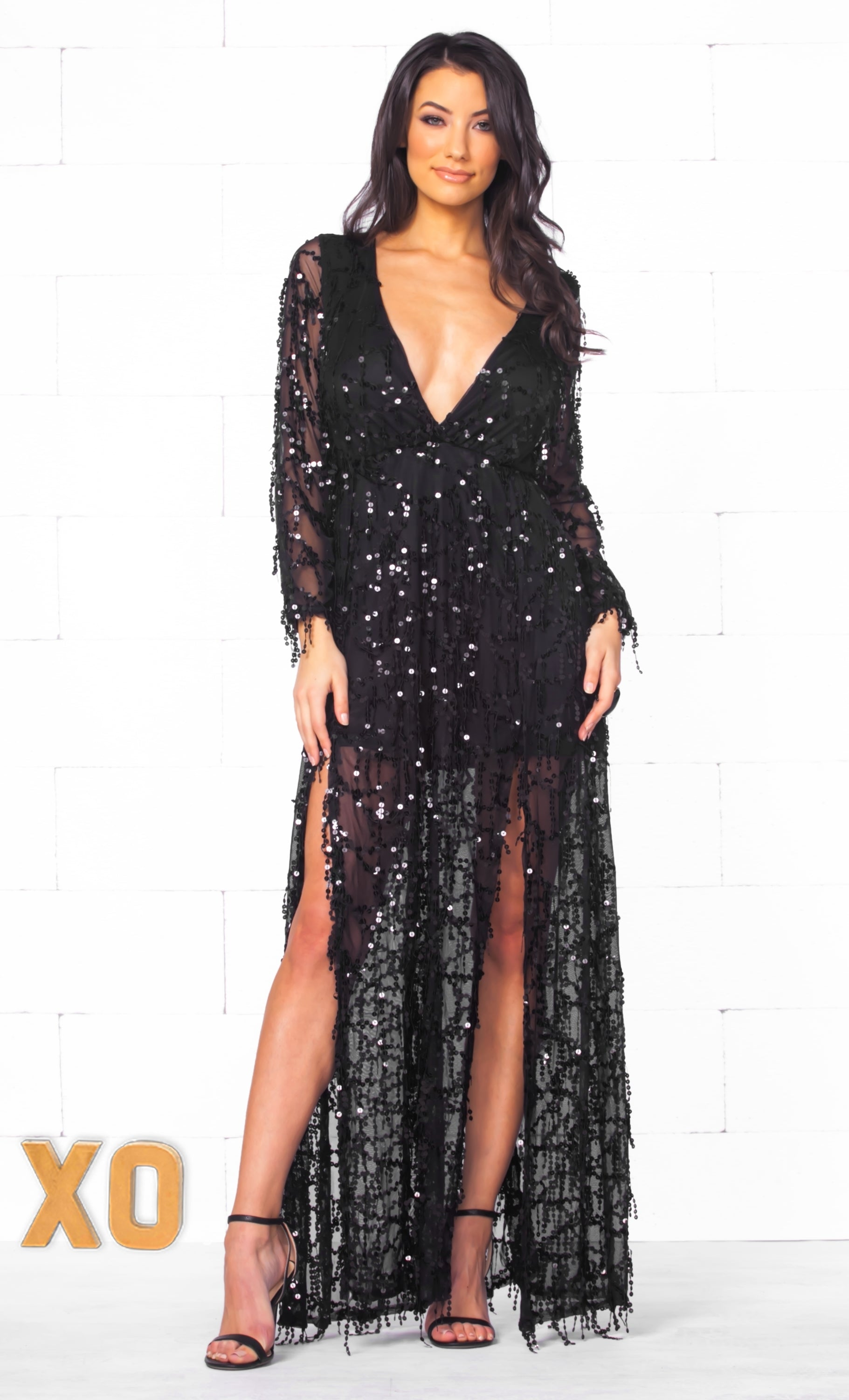 Long sleeve plunge maxi dress