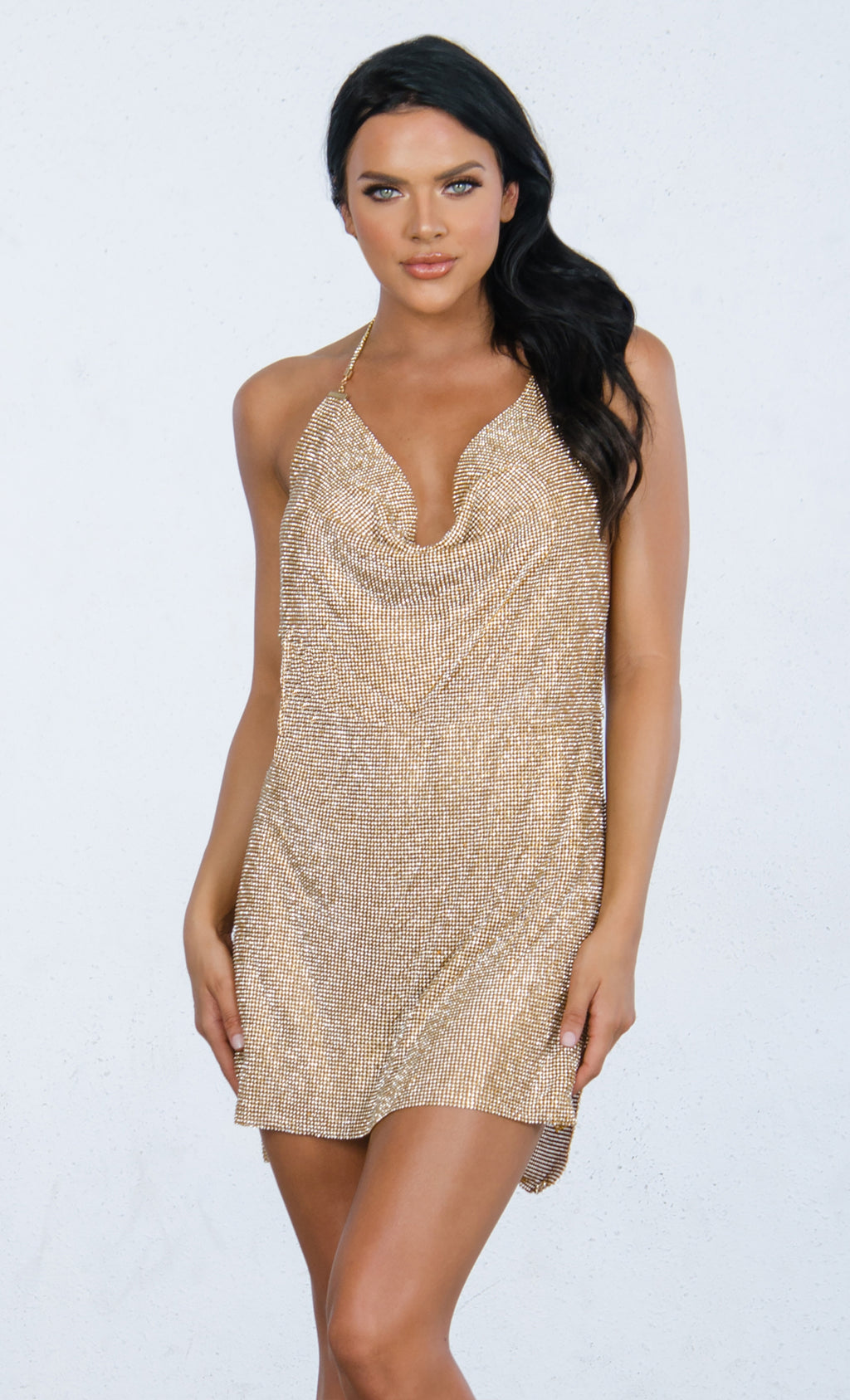 Indie XO Steal the Scene Gold Metallic Multiway Rhinestone Diamanté Mesh Mock Neck Cut Out Straps Backless V Neck Mini Dress