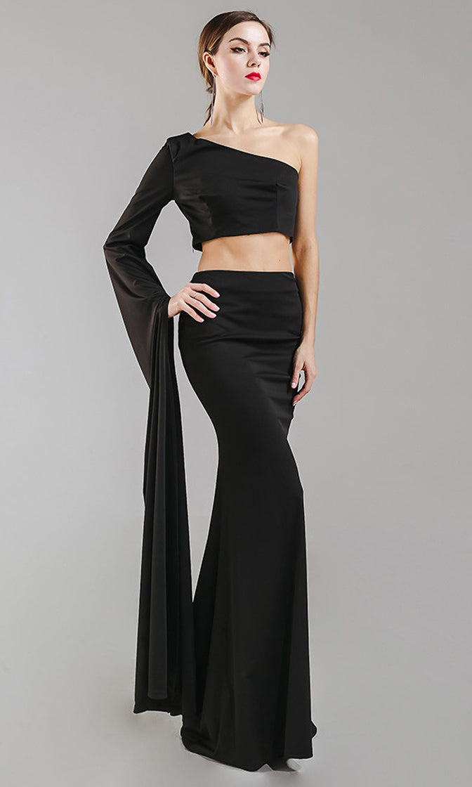 High And Mighty Extra Long Sleeve One Shoulder Crop Top Sheath Skirt Two Piece Maxi Dress