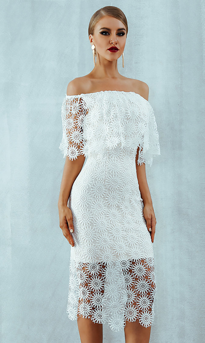 Share My Love White Sheer Mesh Lace Floral Pattern Off The Shoulder Bodycon Midi Dress