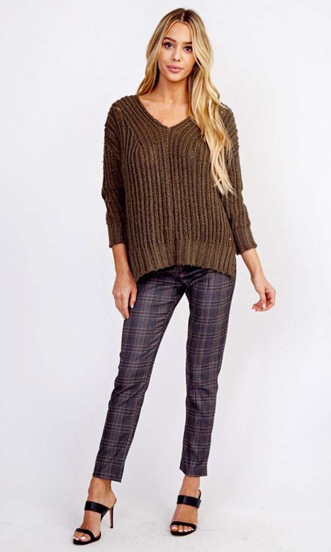 Checking On You Grey Plaid Pattern Straight Leg Skinny Pants