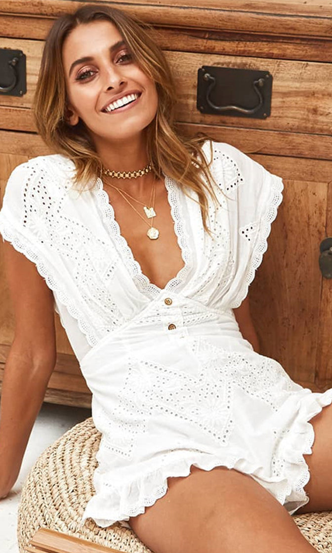 One On One White Eyelet Lace Embroidery Cap Sleeve V Neck Ruffle Romper Playsuit