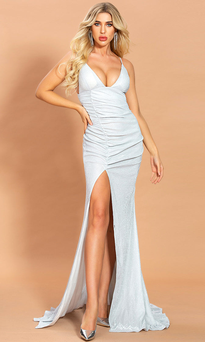 Beginner's Luck Silver Iridescent Metallic Spaghetti Strap Sleeveless V Neck Open Back Ruched High Slit Leg Maxi Mermaid Dress