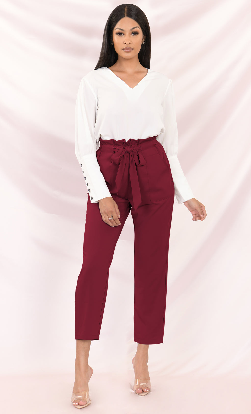 Urban Escape Burgundy Tie Waist Loose Tapered Leg Pocket Trouser Pants