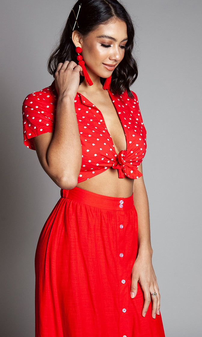 Happy Times Red Polka Dot Floral Pattern Embroidery Short Sleeve Tie Front Crop Top Button Down A Line Midi Skirt Two Piece Dress