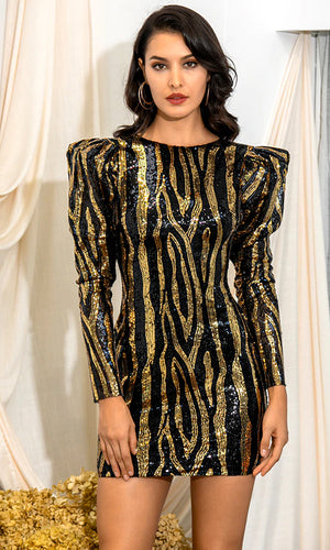 Added Drama Black Gold Sequin Geometric Pattern Long Sleeve Puff Shoulder Round Neck V Back Bodycon Mini Dress
