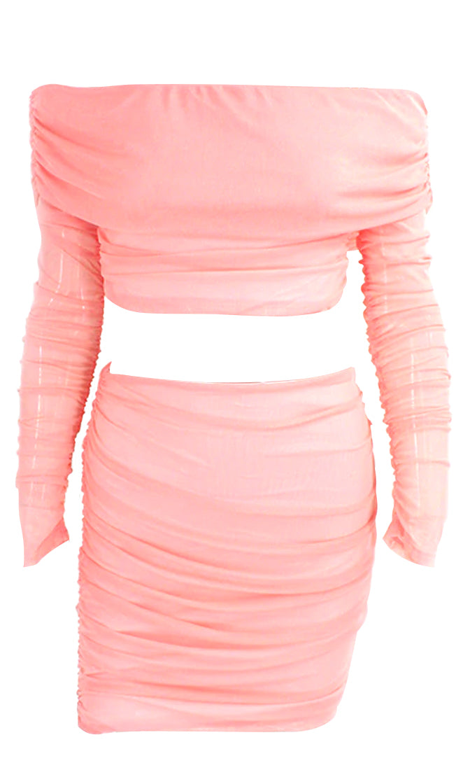 Keeping It Fresh Pink Sheer Mesh Long Sleeve Off The Shoulder Foldover Crop Top Ruched Bodycon Two Piece Mini Dress