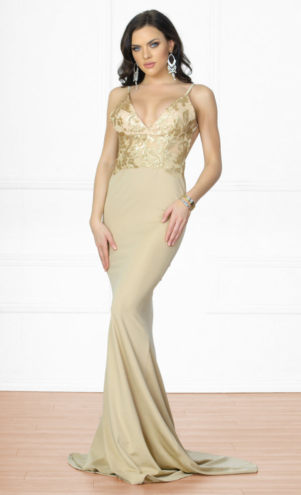 ab4a64e788 Indie XO Always Amazing Nude Gold Metallic Lace Spaghetti Strap Plunge V  Neck Backless Ruched Maxi