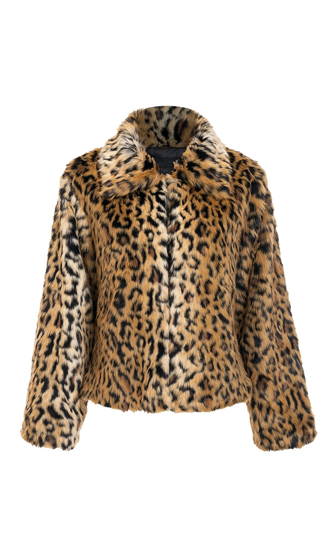 I'm In Control Leopard Faux Fur Long Sleeve Collar Coat Outerwear - Sold Out
