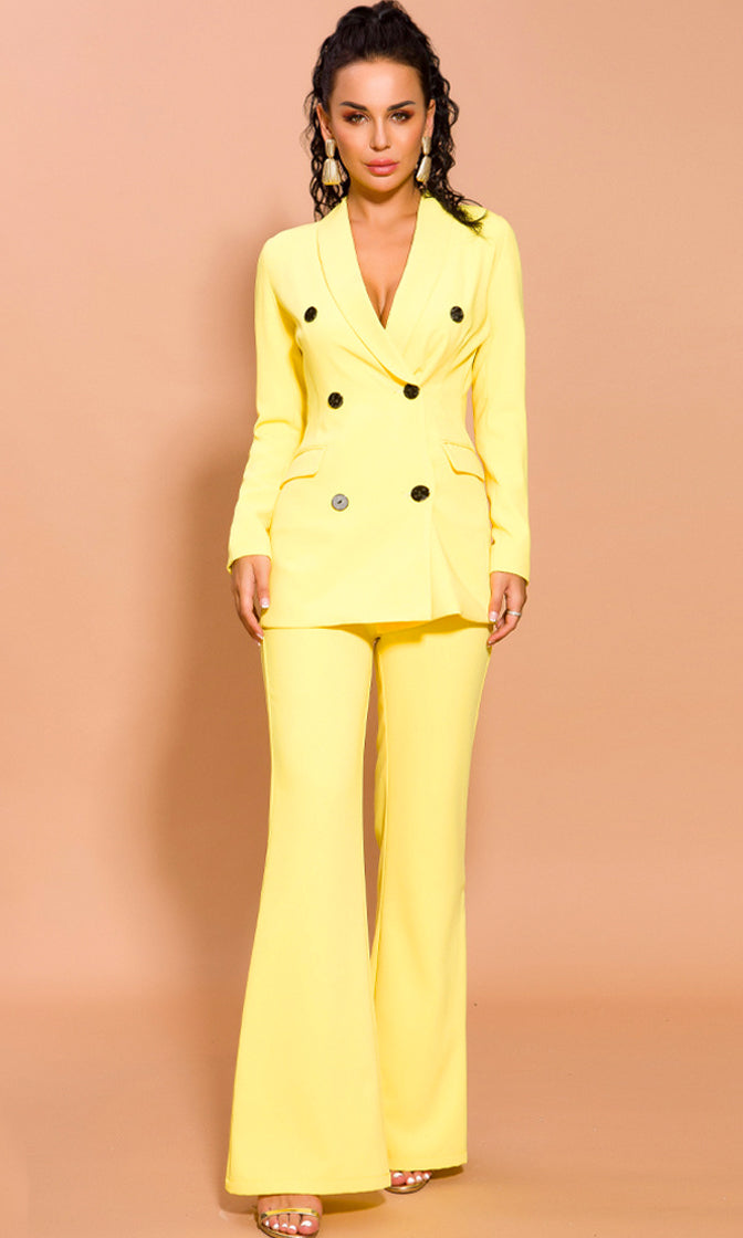 Trust Your Instincts Yellow Long Sleeve Double Breasted Blazer Jacket Loose Flare Leg Pant Two Piece Jumpsuit