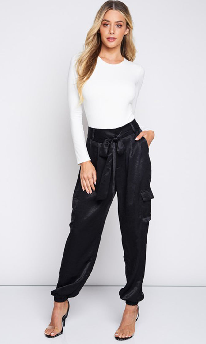 Street Smart Satin Tie Waist Loose Cargo Jogger Pants - 2 Colors Available (Pre-Order)