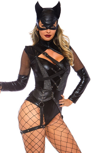 Ready To Meow Black Long Sleeve Sheer Mesh Cut Out Garter Strap Bodysuit Halloween Costume