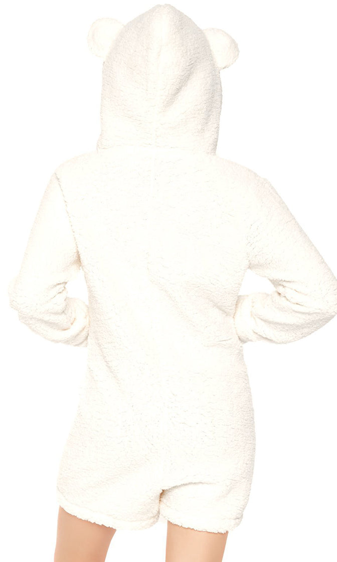Polar Perfect Ivory Long Sleeve Zip Front Hood Bear Ear One Piece Romper Playsuit Halloween Costume