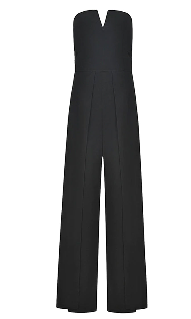Extra Points Strapless V Neck Cut Out Sides Split Wide Leg Loose Cropped Culottes Jumpsuit - 2 Colors Available