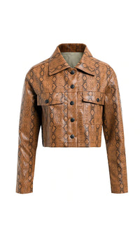 Full Of Venom Brown Snake Print Animal Pattern PU Faux Leather Long Sleeve Crop Jacket Outerwear - Sold Out