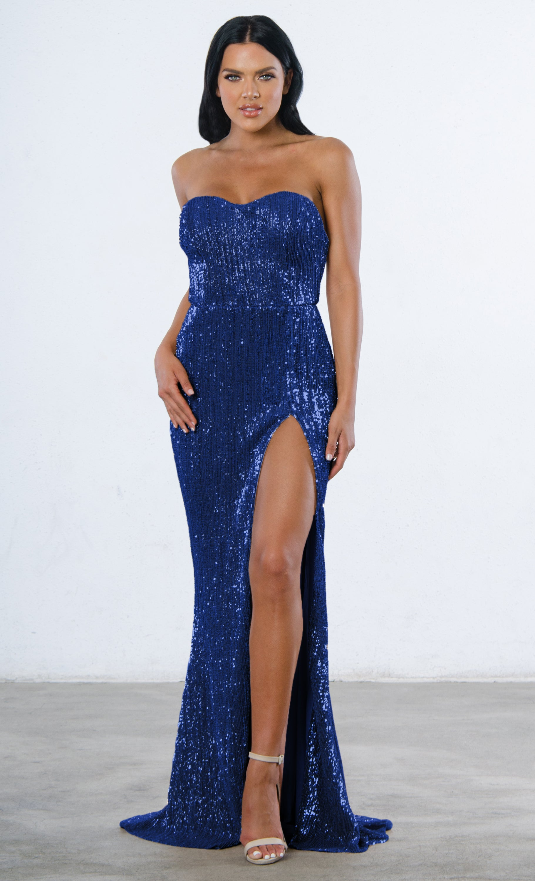 220db7b789ee Show Me Some Love Blue Sequin Strapless Sweetheart Neck High Slit ...