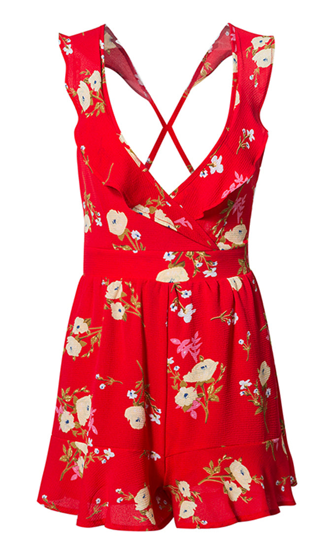 Bright Aura Red Floral Pattern Sleeveless Ruffle V Neck Cut Out Back Bow Romper Playsuit