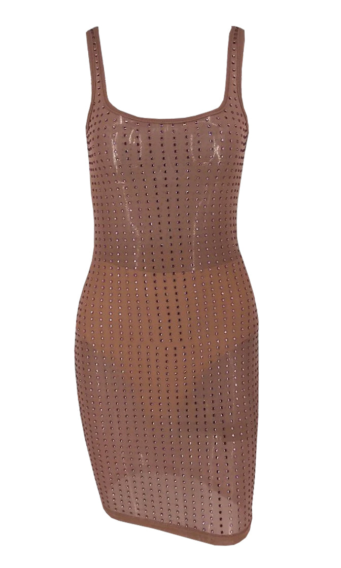 Dropping Hints Tan Sheer Mesh Rhinestone Crystal Bead Scoop Neck Bodycon Stretch Mini Dress - 3 Colors Available