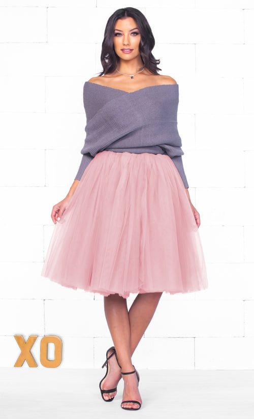 Indie XO 7 Layer On Pointe Light Baby Pink Tulle Pleated Ballerina A Line Full Midi Skirt - Just Ours!