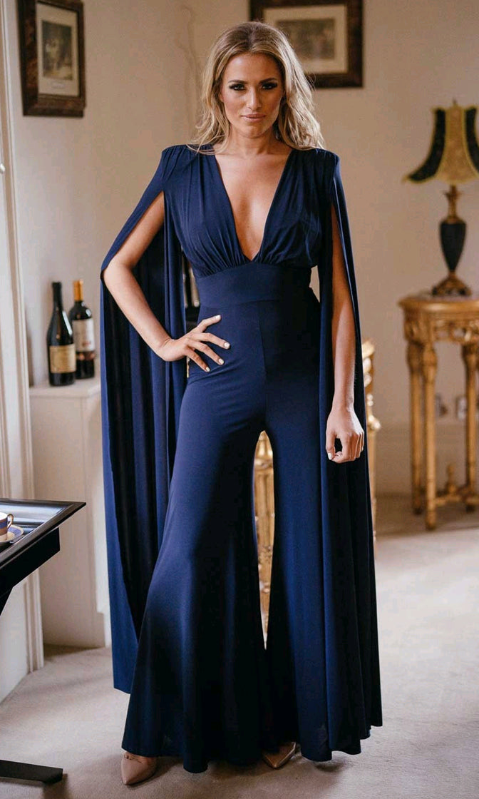 Do Tell Navy Blue Extra Long Sleeve Plunge V Neck Cut Out Back Wide Leg Loose Jumpsuit