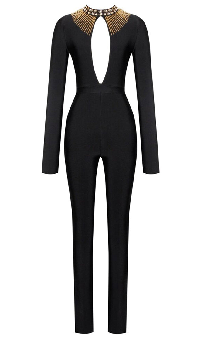 Light A Fuse Black Gold Long Sleeve Beaded Mock Neck Plunge Cut Out Keyhole Bodycon Bandage Jumpsuit