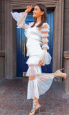 Dream Life White Sheer Pointelle Dot Mesh Tiered Ruffle Collar V Neck Long Flare Sleeve Sheer Maxi Gown Dress
