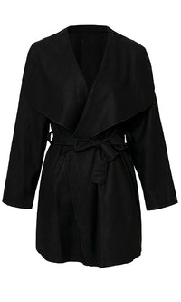 Covert Operation Long Sleeve Wide Lapel Tie Belt Wrap Coat Outerwear - 3 Colors Available - Sold Out