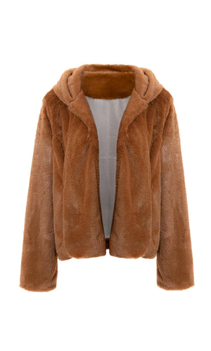 Warming Your Heart Faux Fur Long Sleeve Loose Open Front Hooded Coat Outerwear - 4 Colors Available