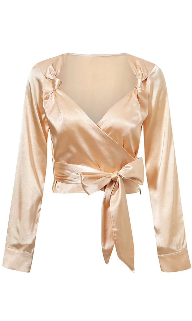 Soft And Smooth Champagne Satin Long Sleeve Cross Wrap V Neck Knot Bow Belt Blouse Top