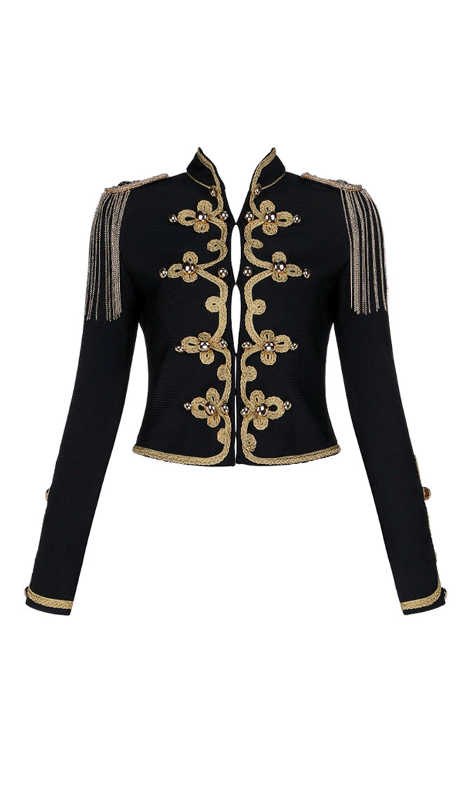Leading The Band Black Gold Bandage Embroidery Tassel Chain Stud Button Bandage Jacket Outerwear