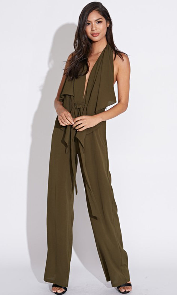 Halt And Listen Sleeveless V Neck Drape Tie Front Wide Leg Loose Backless Halter Jumpsuit - 2 Colors Available