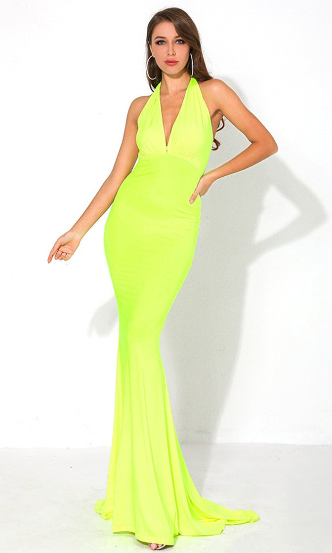 Drive Me Crazy Neon Lime Sleeveless Plunge V Neck Tie Halter Cut Out Back Bodycon Mermaid Maxi Dress
