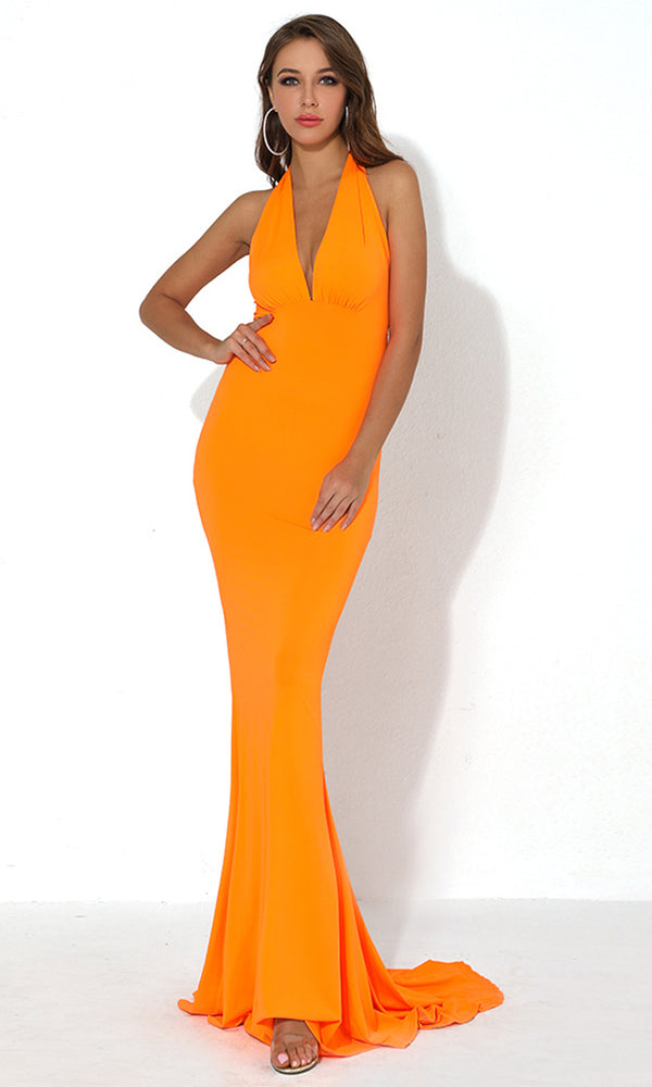 9fe5ad1374 Drive Me Crazy Neon Orange Sleeveless Plunge V Neck Tie Halter Cut Out Back  Bodycon Mermaid