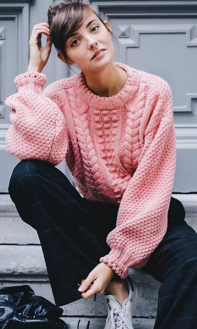 In The Morning Pink Long Lantern Sleeve Chunky Crew Neck Pullover Sweater