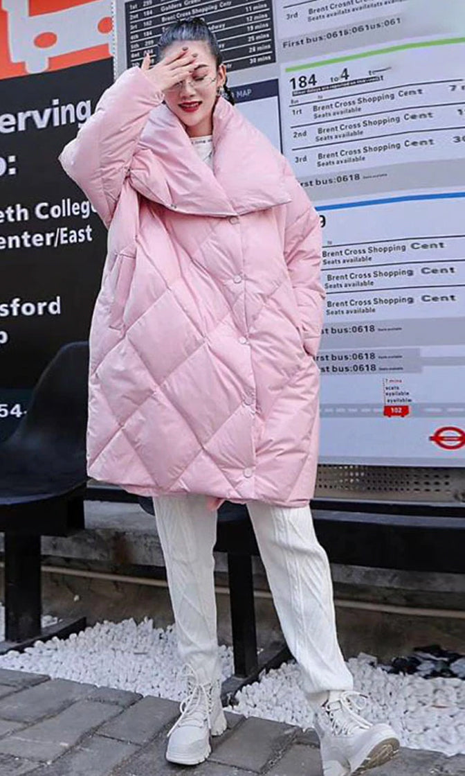 Snowed In Long Sleeve Oversized Collar Quilted Padded Puffer Coat Outerwear - 4 Colors Available
