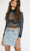 See The Real Me Navy Blue Sheer Glitter Sparkle Long Sleeve Mock Neck Crop Top Blouse - Sold Out