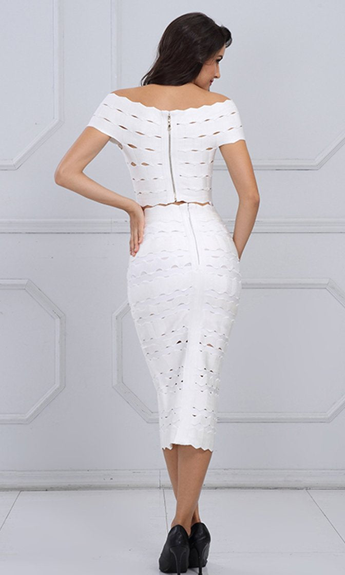 Couple Up Short Sleeve Off The Shoulder Crop Top Midi Two Piece Bodycon Bandage Dress - 2 Colors Available