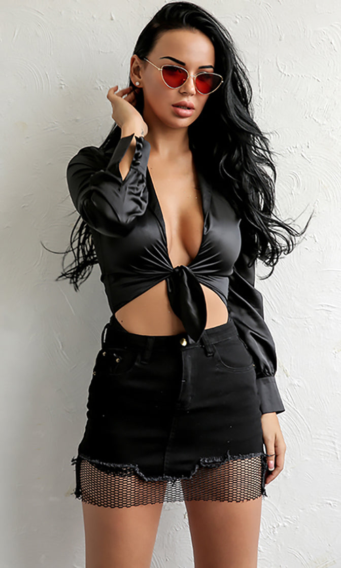Time To Win Long Sleeve V Neck Tie Front Blouse Cut Out Waist Bodysuit Top - 2 Colors Available