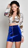 Going The Distance Royal Blue Velvet Zip Front O-Ring Bodycon Mini Skirt - Sold Out
