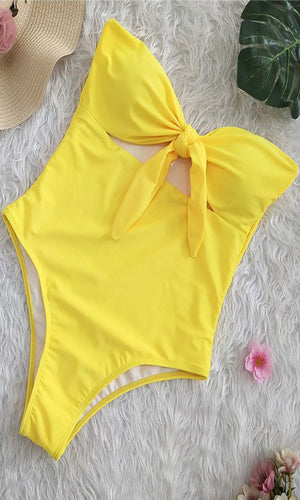 Pin Up Girl Strapless Knot Tie Front Cut Out One Piece Monokini Swimsuit - 6 Colors Available
