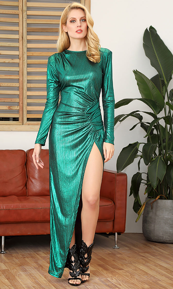 It's Never Enough Dark Teal Metallic Long Sleeve Round Neck Ruched Keyhole Back Side Slit Maxi Dress
