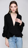 Good Taste Long Ruched Sleeve Ruffle Plunge V Neck Peplum Blouse Top - 3  Colors Available - Sold Out
