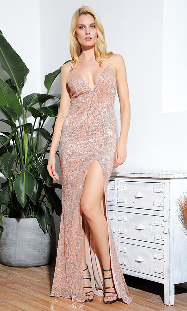 3b9a5d59 Shall We Dance Beige Rose Gold Sequin Sleeveless Spaghetti Strap Plunge V  Neck Low Back High
