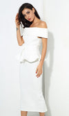 Status Quo White Off The Shoulder Bow Belt Ruffle Peplum Top Midi Skirt Two Piece Dress
