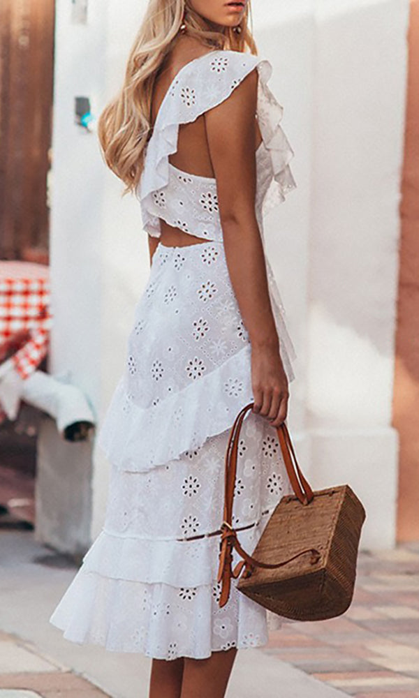 Lose Yourself White Eyelet Lace Cap Sleeve Ruffle Button Front Cut Out Back Casual Midi Dress
