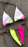 Sail The Seas Blue Lime Green Colorblock Leopard Animal Pattern Triangle Bra Top Tie Side Brazilian Bikini Two Piece Swimsuit - 3 Colors Available