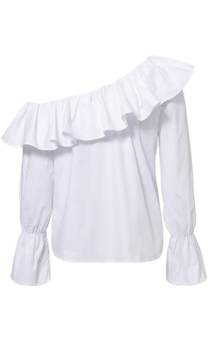 Doing Things Right White Ruffle Long Sleeve Button One Shoulder Blouse Top - Sold Out