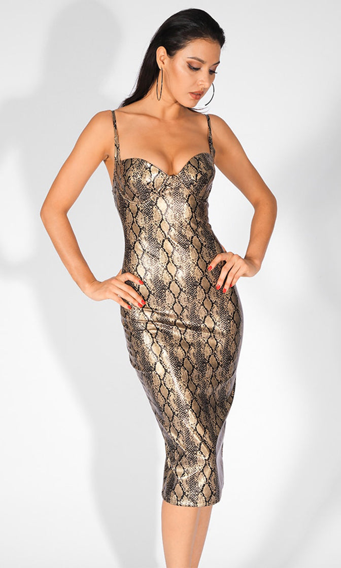 Metallic Mystery Brown Snake Print Animal Pattern Sleeveless Spaghetti Straps V Neck Bodycon Midi Dress