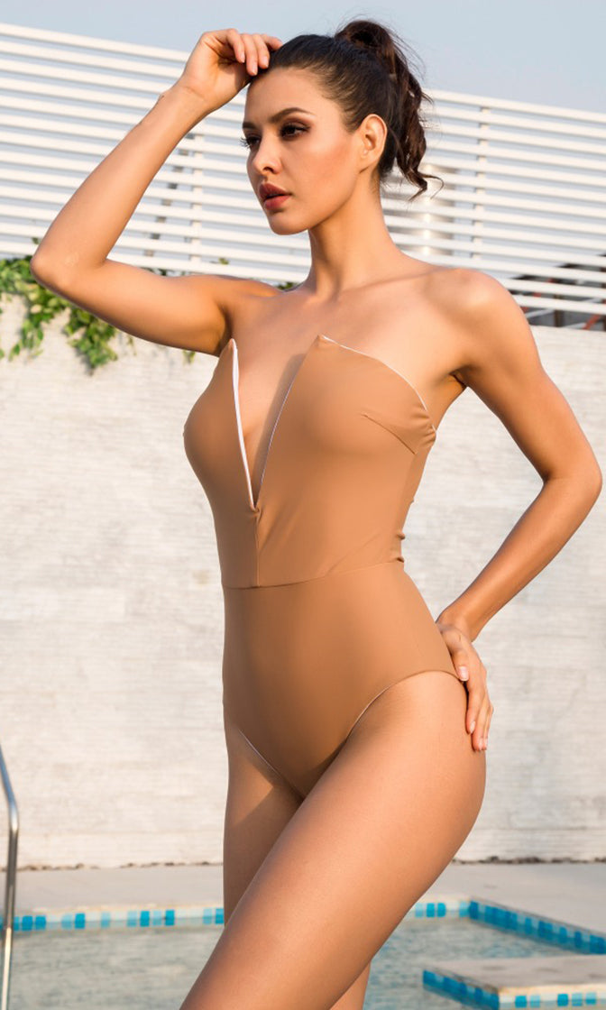 Beach Patrol Nude Strapless Plunge V Neck Bodysuit Top One Piece Swimsuit