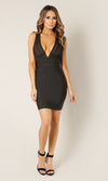 Night Stalker Black Sleeveless Plunge V Neck Strappy Cut Out Back Bodycon Bandage Mini Dress - Sold Out